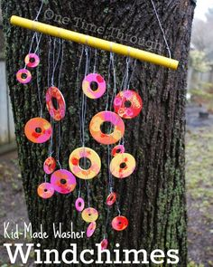 Easy to make Washer Windchimes - perfect for a spring garden. These ones were made by a toddler! {One Time Through}
