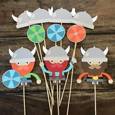 Viking Centerpieces Set Of 10- First Birthday, Baby Shower, Party Decorations