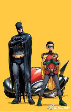 Art by Frank Quitely. Batman  Robin (Dick Grayson and Damien Wayne)