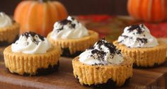Mini Pumpkin Oreo Cheesecakes