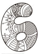 Number 6 Zentangle Coloring page