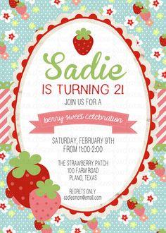 Strawberry Birthday Invitation Custom by FoxDigitalDesigns