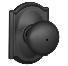 Matte Black Privacy Plymouth Door Knobset with the Decorative Camelot Rose