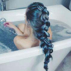 Metallic blue dutch braid