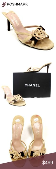 """[Chanel] Kitten Heel Sandals Light Brown Suede [Chanel] Kitten Heel Sandals in Light Brown/Tan Suede with gold hardware are a TIMELESS style. The wooden 3.5"""" heel compliments the rose on the open toe style. This feminine accent is a refined detail that I love! CHANEL Shoes Sandals"""