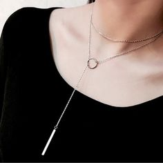 925 Silver necklaces Circle with bar chian necklace for SYXL034