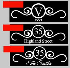 Swirly Monogram Mailbox Numbers Street Address Vinyl Decal Ea - Custom vinyl decals diy