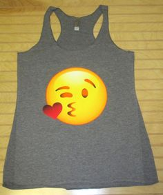 Women's Tri Blend Racerback Tank Top Kissing Emoji