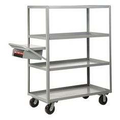 """Order Picking Truck, 4 Shelf, 36x24, Gray by Little Giant. $684.36. Multishelf Order Picking Carts6"""" phenolic casters (2 rigid, 2 swivel) Load capacity: 3600 lb. 12-ga. steel Lipped shelvesOrder Picking Truck, Lip Up Shelves, Load Capacity 3600 lb., Welded Steel Construction, Gauge Thickness 12, Powder Coat Finish, Color Gray, Overall Length 52 In., Overall Width 24 In., Overall Height 63 In., Number of Shelves 4, Caster Size 6 In., Caster Type 2 Rigid, 2 Swivel, Caster M..."""