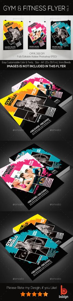 Fitness Flyer Template, Graphics and Event flyers