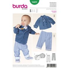 Look no further for your baby and toddler jacket and trousers Burda pattern age 6 months to 3 years. Available to buy on-line from Sew Essential. Toddler Sewing Patterns, Burda Sewing Patterns, Sewing For Kids, Baby Patterns, Sewing Ideas, Jacket Pattern, Free Baby Stuff, Pattern Fashion, Sweatshirt