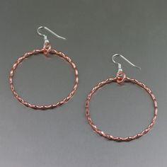 Fine Corrugated Copper Hoop Earrings - Detail