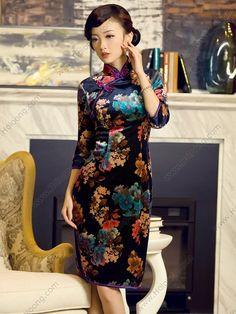 Women's Velvet Deep-blue Knee-length Half-sleeve Cheongsam Dress - USD $ 187.00