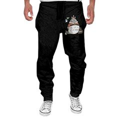 267745456c9 Willcallyou Mens Merry Christmas Totoro Cotton Running Pants   Click on the  image for additional details
