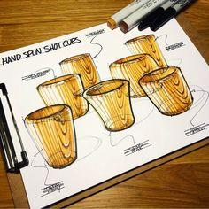Dibujo industrial de vasos de madera