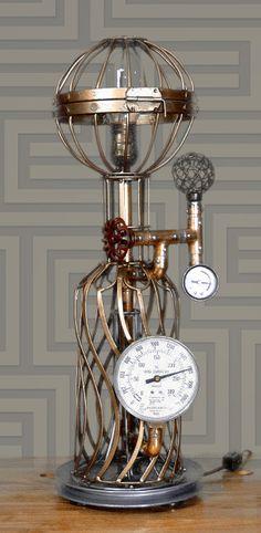 Steampunk Gauges Edison Copper Brass Lamp Art by MasterGreig