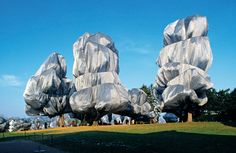 Exhibit: Wrapped Trees, Fondation Beyeler and Berower Park, Riehen, Switzerland, 1997-98  Christo and Jeanne-Claude
