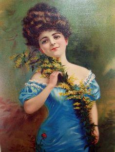 Yard Long Victorian Lady In Blue Dress Pink by DreamsFromYesterday
