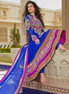 $139 Blue Floor Length Anarkali Suit