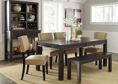 Gavelston Rectangular Dining Table w/ Bench & 4 Beige Side Chairs