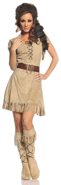 The frontiersman will go wild when they see you in our sexy Wild Frontier Woman Adult Costume. Davy Crockett and Daniel Boone would have thought they were telling tall tales when they described this buckskin buccaneer! Our sexy Wild Frontier Woman Costume includes a tan faux suede mini dress featuring fringed hem and shoulders, lace-up front and a collar, brown belt with gold buckle, faux fur coonskin cap and matching fringed boot tops with lace-up accent. Forget about being a cowgirl and…