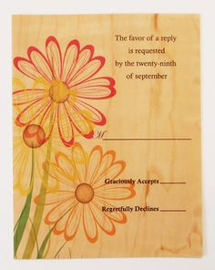 Create a custom reply card for your wedding Invitation Suite, Invitations, Wood Veneer, Wood Design, Card Making, Create, Cards, Wedding, Valentines Day Weddings