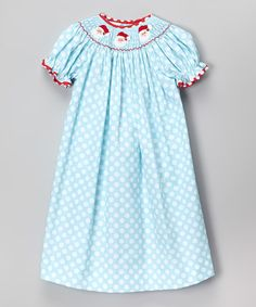 Love this Aqua Polka Dot Santa Bishop Dress - Infant, Toddler & Girls on #zulily! #zulilyfinds