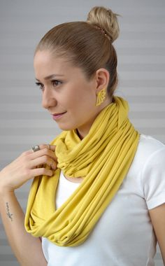Mother's Day Gifts , infinity scarf, high quality combed cotton scarf, mustard yellow, spring scarf, for her, gift idea, modern, cool