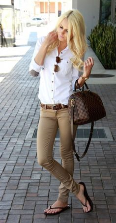 classic khaki and white combo