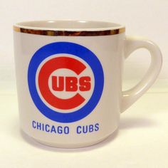 Vintage CHICAGO CUBS Logo Gold Rim Ceramic Mug Coffee Cup Excellent condition! #Unbranded #ChicagoCubs