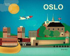 Oslo, Norway Skyline - Wall Art Poster Print $19.99, via Etsy.