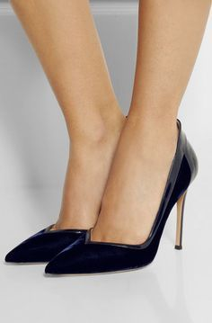 GIANVITO ROSSI Patent leather-trimmed velvet pumps