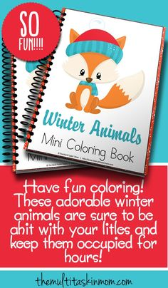 Have fun coloring these adorable winter animals.  Your children are sure to be occupied for hours with this great pack. Perfect for preschool, homeschooling, and moms too!