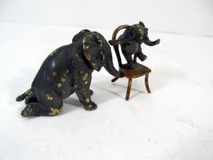 Antique Miniature Vienna Cold Painted Bronze Mom Baby Circus Elephant