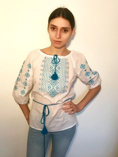 Off white boho vyshyvanka batiste top with blue embroidery and tassels