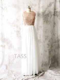 Sequin Chiffon Bridesmaid Dresses Rose Gold Sequin by TaShasha