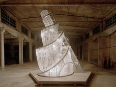 Ai Weiwei, Fountain of Light, 2007, Steel and glass crystals on a wooden base