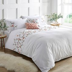 Rose Garden 3D Embroidered Flower Duvet Cover & Pillowcase Set