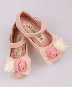 Loving this Pink Double Flower Bow Ballet Flat on #zulily! #zulilyfinds