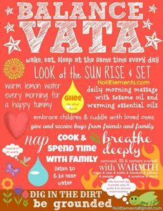 Tips to balance a Vata Dosha #ayurveda