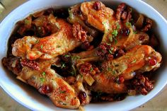 Turkey wings braised with orange juice, cranberries, walnuts, onion & thyme - mmm Turkey Recipes, Baby Food Recipes, New Recipes, Food Baby, Turkey Wings, Orange Juice, Thanksgiving Recipes, Main Dishes, Food Photography