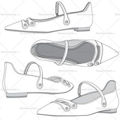 Women's ballet flats fashion flat vector template made in black and white sketches in four different views. Easy to modify any detail of the design.