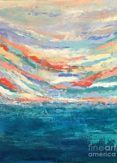 Abstract Greeting Card featuring the painting Breaking Sky No. 1 by Mary Mirabal