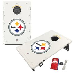 You've worked hard all week and have been looking forward to the next big Pittsburgh Steelers game! Make sure you and your crew are ready for a fun-filled tailgate by adding this Pittsburgh Steelers 2' x 3' Classic Design BAGGO Cornhole Board Set to your collection of pre-game paraphernalia. The set comes with two cornhole boards that both feature a noticeably smooth finish and high-quality Pittsburgh Steelers graphics printed at the top of each board. Pittsburgh Steelers Game, Barbie Miniatures, Cornhole Boards, Classic, Fun, Prints, Smooth, Graphics, Design