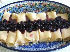 Polish Nalesniki Sweet Cheese Filling Recipe: Sweet Cheese Blintzes (Nalesniki) with Fresh Blueberry Sauce