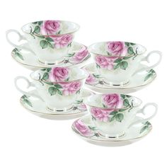 Rose Bouquet Bone China - Cup and Saucer - Set of 4
