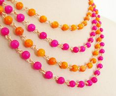 Tangerine Orange and Fuschia Pink Multi Chain by silverliningdecor, $46.00