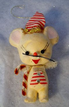 Vintage Made In Japan Felt Candy Cane Mouse Ornament With Bell & Whiskers