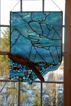 Lost At Sea - fused and stained glass, shells and driftwood, available ABSOLUTELY LOVE THIS...WILL BE ON MY TABLE SOON