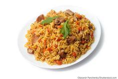 Russisches Reisgericht mit Fleisch